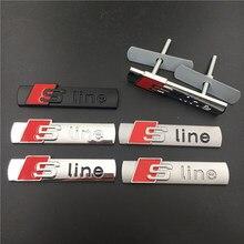 Para Audi A3 A4 A5 A6 A7 A8 S3 S4 S5 S6 S7 S8 Q3 Q5 Q7 TT S Linha Logo Grille Sticker Liga de Metal SLine Emblema Do Emblema Do Carro de Corrida