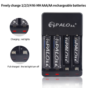 Image 4 - PALO 4 Slots 1.2VAAA AA Rechargeable Battery Chargers LED Light Smart battery Charger NI MH NI CD aa aaa Chargers with USB cable
