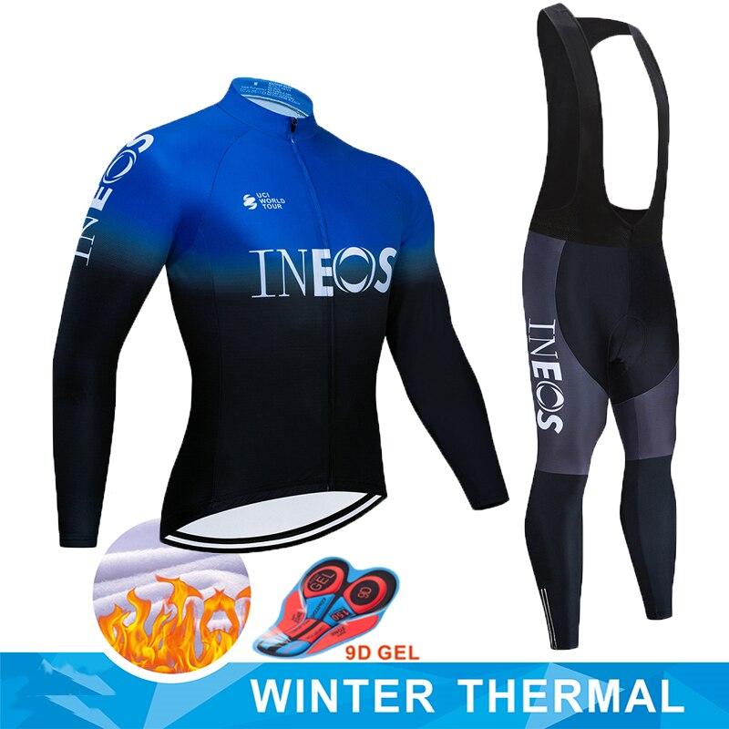Cycling Clothing set 2020 Mens Winter Warm Thermal Cycling Jersey Bib Pants kit