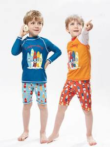 Boys Swimwear Surfing Bathing Beathwear Kids Children Fashion 2pcs Nocap Pants Tops