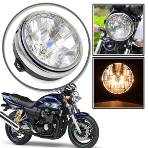 Image 5 - 12v Motorcycle Chrome Halogen Front Headlight Lamp For Honda CB400/CB500/CB1300 Hornet 250 Hornet 600 Round Lights Bulb for Moto