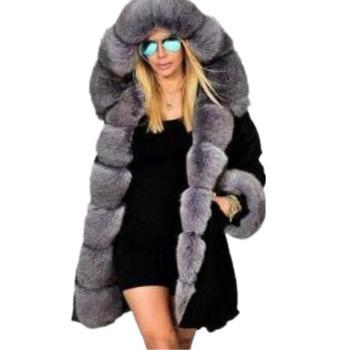 Plus Size S-5XL Women Winter Coat Overcoat Faux Fur Coat Jacket With Hooded Thick Cotton Coat Female Parkas Fur Jacket Outwear blue flower girl faux fur cape child kid winter jacket hooded wrap bolero with hand muff evening prom coat outwear cloaks