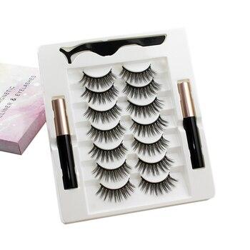 Magnetic eyelash mascara magnetic liquid tweezers cover waterproof long-lasting extensions 7 pairs