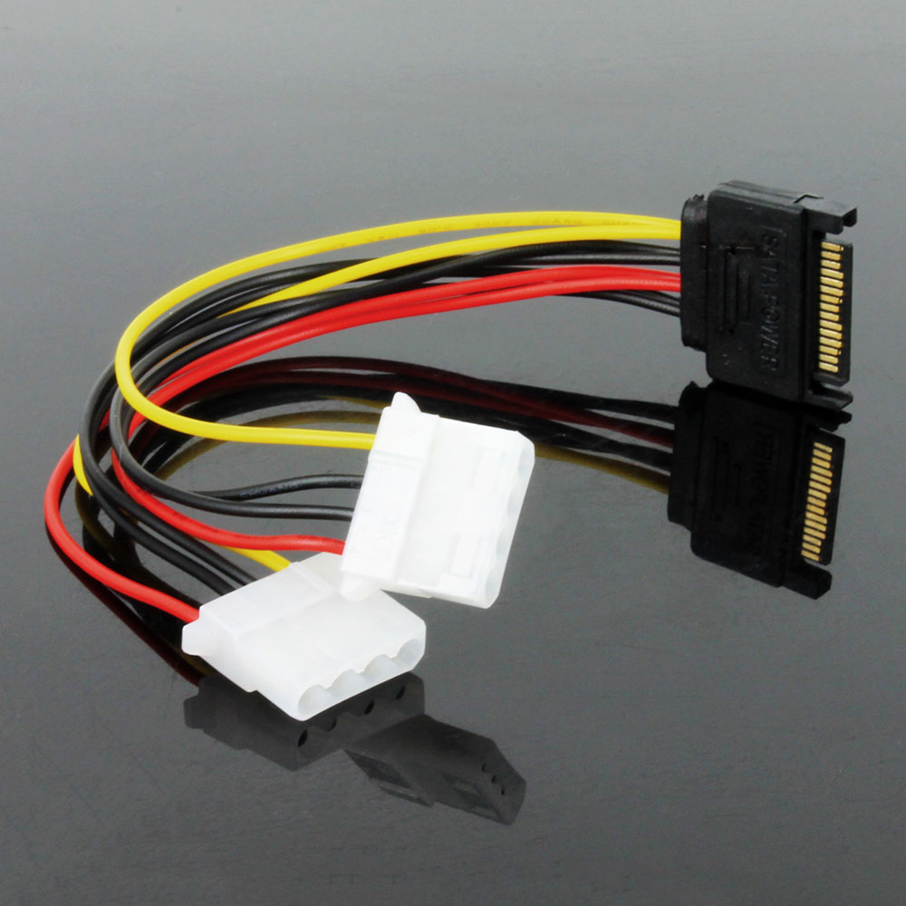 OULLX SATA Male To IDE Dual 4Pin Model Female Power Supply Computer Cable Extention Hard Drive Cable Sata 1 To 2 4PIN Molex