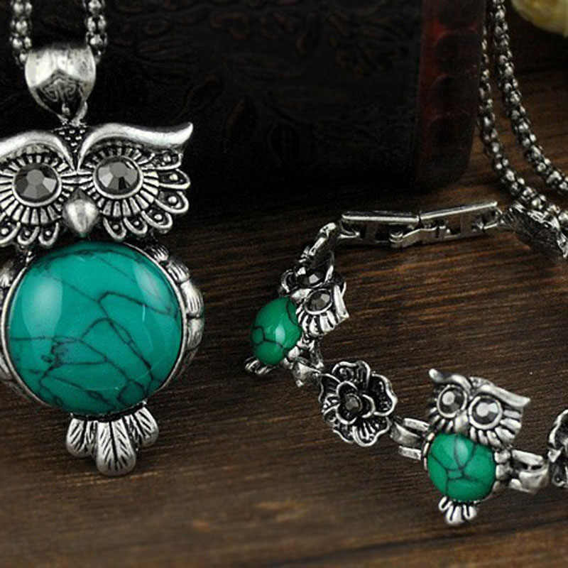 Beliebte 1Set Halskette Ohrringe Armbänder Kallaite Eule Förmigen Heißer Verkauf Top Grade Vintage Blumen Grün Blau Kristall Schmuck Set