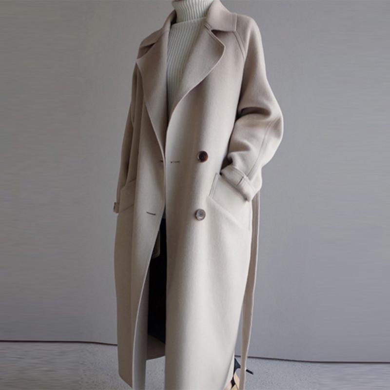Loose Long Wool Blends Coats Women Winter Casual Sashes Woolen Coat Female Korean Fashion Warm Woolen Jackets Elegant Outerwears