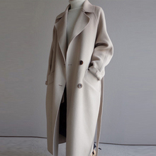 Loose Long Wool Blends Coats Women Winter Casual Sashes Wool