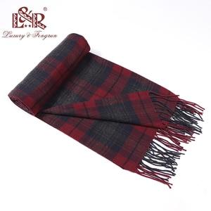 Image 1 - Кашемировый мужской шарф, зимний тёплый платок, клетчатые шарфы, модные повседневные шерстяные шарфы, Мужская Толстая шаль Sjaal, 2020
