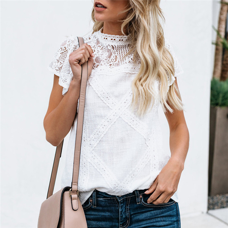 Fashion Women  Blouse Lace Patchwork Flare Ruffles Short Sleeve Cute Floral Womens Tops And Blouses Blusas Mujer De Moda 2019