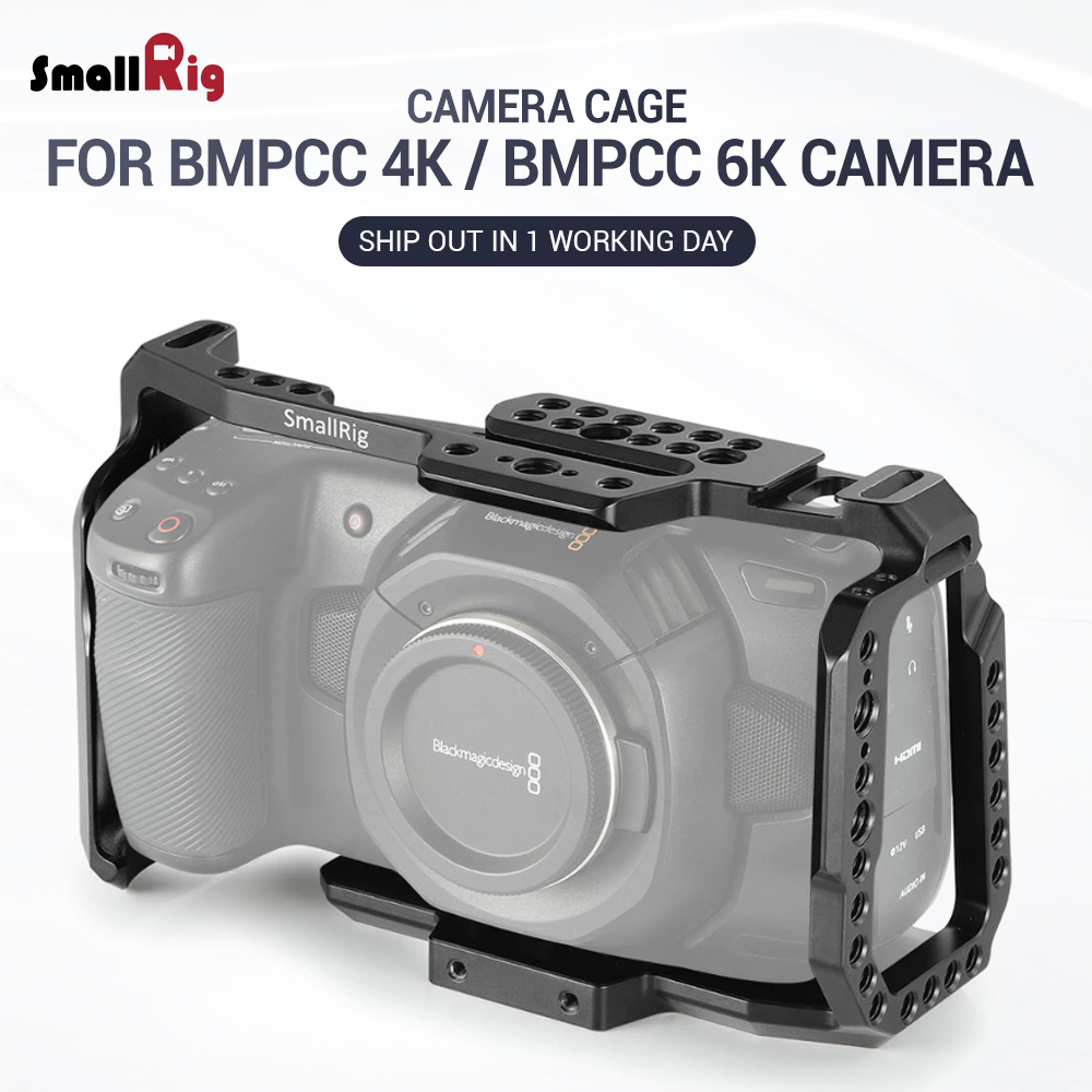 SmallRig Cage for Blackmagic Design Pocket Cinema Camera 4K BMPCC 4K / BMPCC 6K With NATO Rail Thread Holes for DIY Options 2203-in Camera Cage from Consumer Electronics