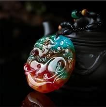 Collier en pierre naturelle sculptée Pixiu pour hommes et femmes, porte-bonheur, amulette pour attirer