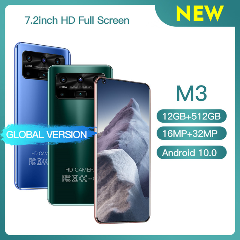 Новая глобальная версия M3 смартфон 12G 512 Гб 13 + 32MP Камера Android сотовый телефон 5800 мА/ч, Батарея Celuares 7,2