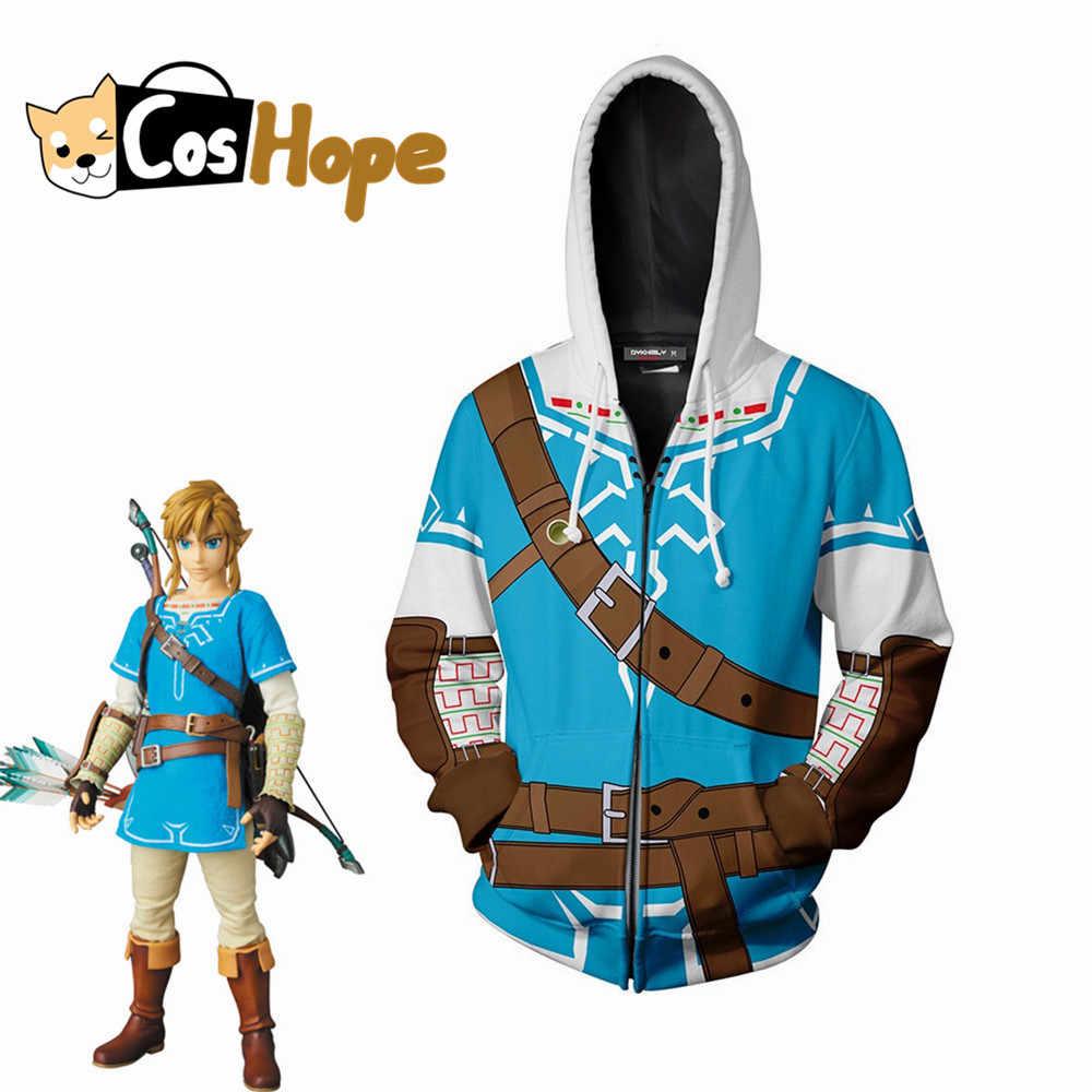 Link Hoodie Zelda Breath of The Wild Hoodie Sweatershirt Men's Halloween Women Zip up Coat
