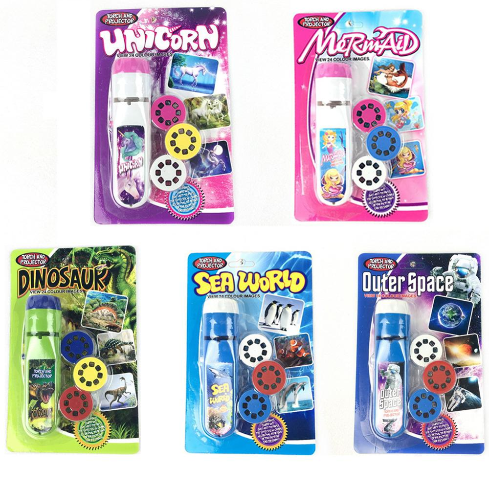 Projection Flashlight Children Projector Light Cute Cartoon Toy Night Photo Picture Light Bedtime Learning Fun Toys