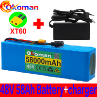 New 48v Lithium Ion Battery 48v 58Ah 1000w 13S3P Lithium Ion Battery Pack For 54.6v E-bike Electric Bicycle Scooter With BMS Wit