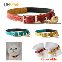 UF.Bemo Personalized Cat Collar Elastic with Bell ID TAG Soft PU Leather Pet Safety Adjustable Kitten small dog Chihuahua