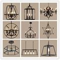 Lámpara de araña de Decoración Retro de estilo americano iluminación Nordic Loft luz de techo sala de estar dormitorio lámpara de hierro forjado lámpara colgante de cuerpo