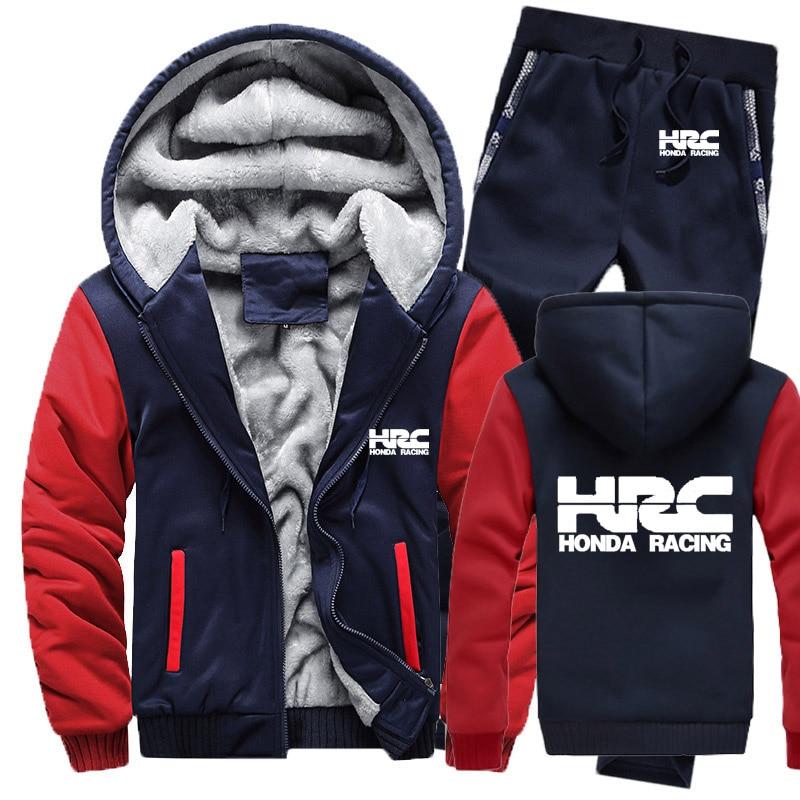 Hoodies Men HRC Race Motorcycle Car Logo Mens Hoodies Suit Winter Thicken Warm Fleece Zipper Tracksuit Mens Jacket+Pants Sets