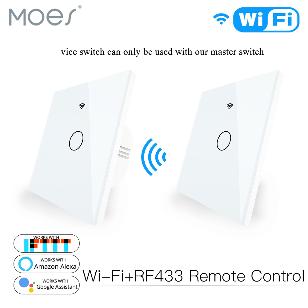 WiFi 2 Way Wall Touch Sensor Smart Switch RF433 Transmitter Wall Panel Wireless Remote Control Work With Alexa,Google Home