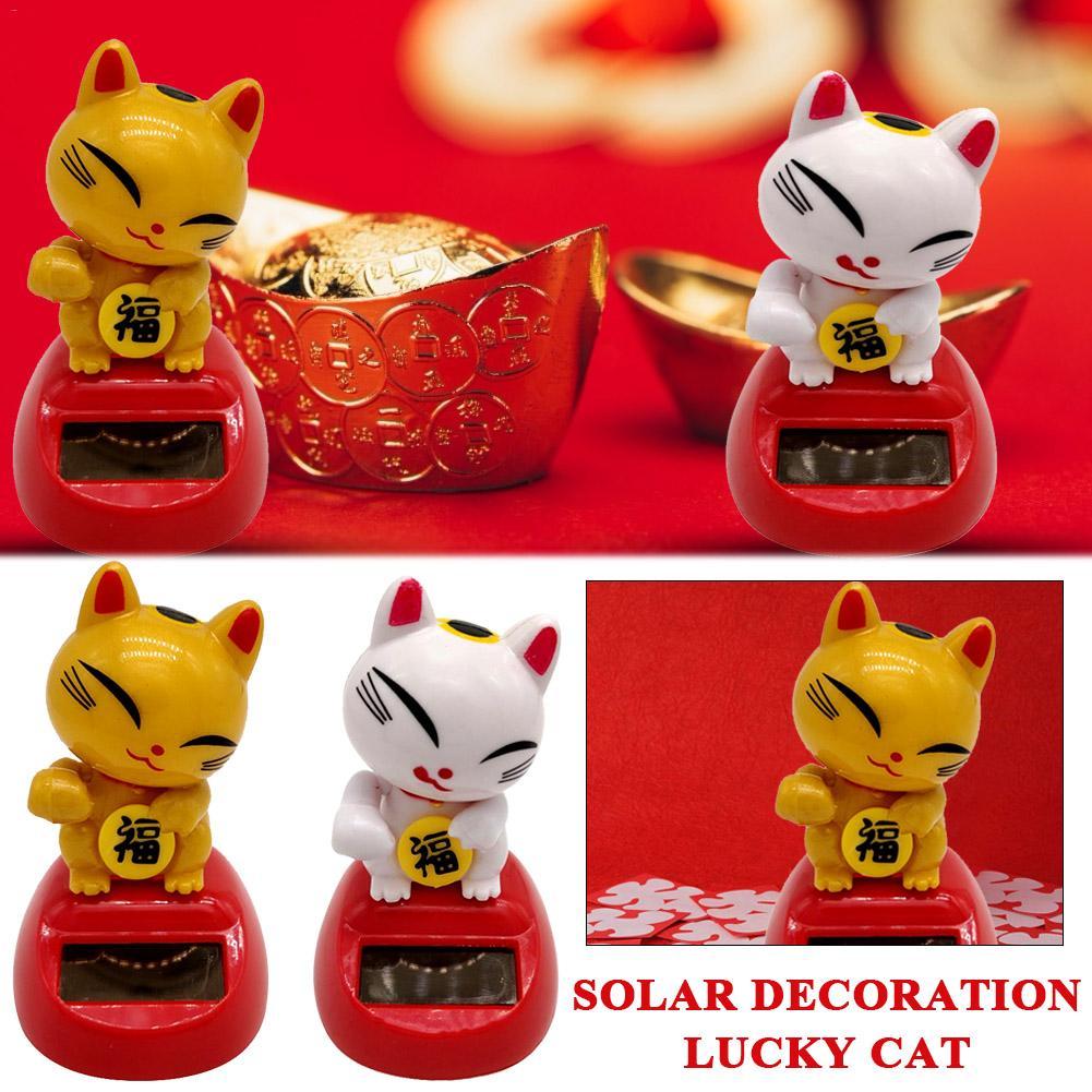 Cute Solar Power Cat Interior Decoration Home Decoration Children's Toys Birthday Gifts Premium Plastics Made Of Lucky Symbols