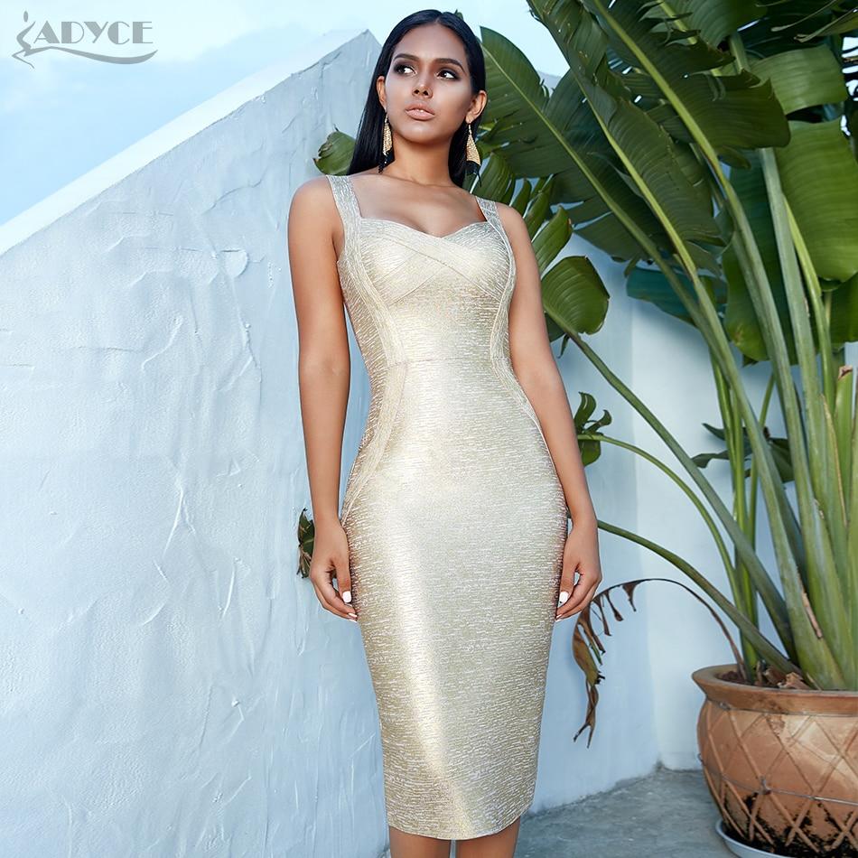 Adyce 2020 New Summer Women Bodycon Bandage Dress Vestidos Gold  Spaghetti Strap Club Dress Elegant Celebrity Runway Party DressDresses
