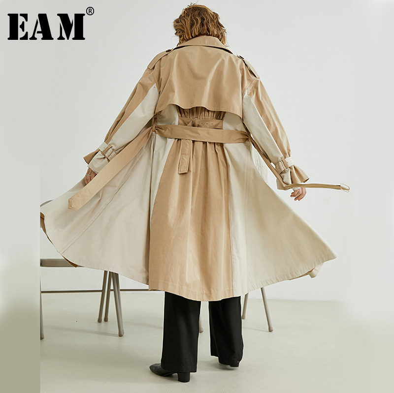 [EAM] Women Conrtrast Color Split   Trench   New Lapel Long Sleeve Loose Fit Windbreaker Fashion Tide Autumn Winter 2019 1H203
