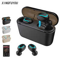 Wireless Bluetooth Earphones TWS Q32 Mini Headset Cell Phone Earbud With Charging Case Stereo Sports Gaming Mic