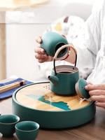 Ceramic Japanese Style Small Tea Set Household Simple Teapot Cup Tray Kung Fu Green Tea Pu erh Oolong Teaware Free Shipping