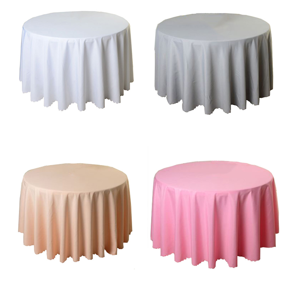 Round Tablecloth Wedding White Hotel Table Cloth Table Cover Overlay Tapetes Nappe Mariage Tablecloth Polyester