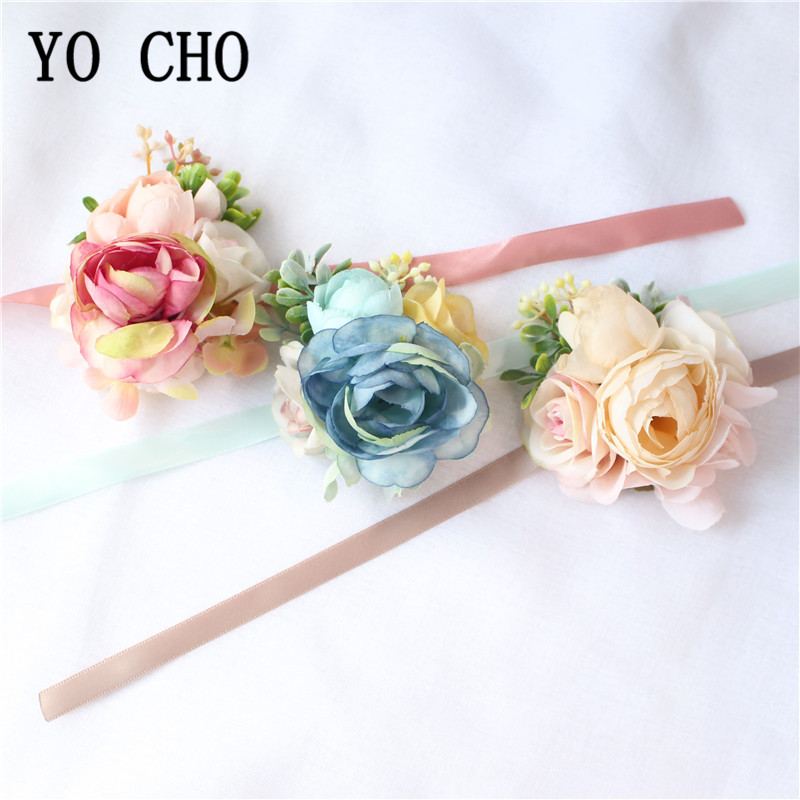 YO CHO Wrist Corsage Bracelet Bridesmaid Flower Wedding Groom Boutonniere Silk Rose Bridal Brooch Marriage Cuff Wrist Corsages