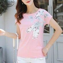 2019 Fashion Summer Ladies Shirt Print Short Sleeve O-neck T