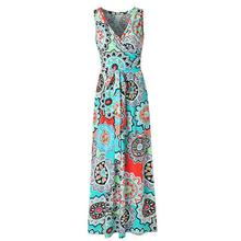 Floral dress woman basic Sleeveless women summer flower printed Maxi Dress Casual Summer Long