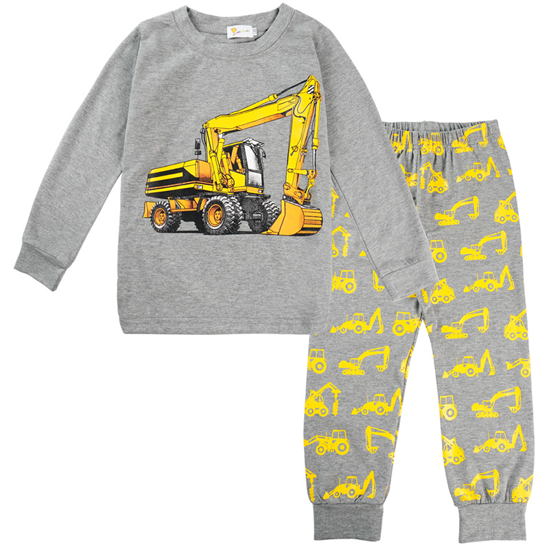 New Autumn Kids   Pajamas   Clothing   Sets   Boys Casual Long Sleeve Cartoon Digger Printing Cotton Nightwear Home Clothes Suit