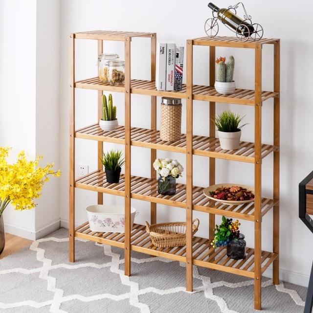 Multifunctional Bamboo Bookshelf Bookcase Flower Plant Stand Display Storage Rack Unit Closet Home Furniture HW57411 2