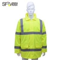 SFVest high visibility reflective raincoat cotton jacket coat luminous safety raincoat safety jacket
