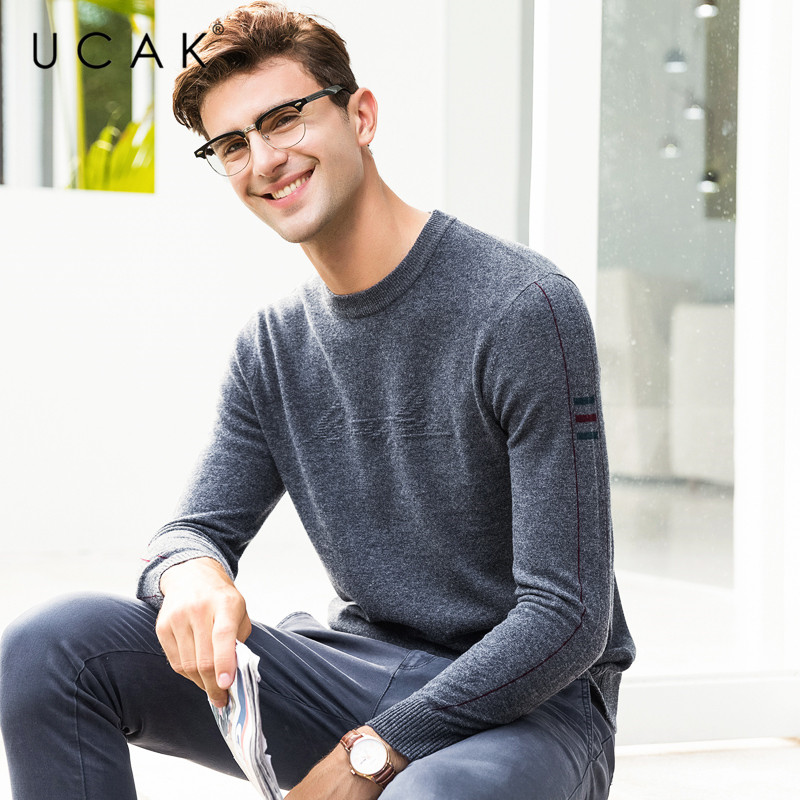 UCAK Brand 100% Merino Wool Sweater Men Fashion Casual O-Neck Pullover Men Pull Homme Autumn Winter Warm Cashmere Sweaters U3070