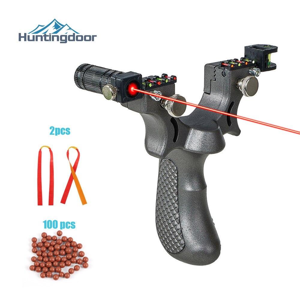 Huntingdoor New Resin Slingshot Catapult With Flat Rubber Band Outdoor Hunting Shooting Slingshot Laser Aiming Slingshot