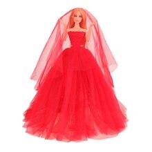 цена Fashion Handmade Mini Dolls Accessories Wedding Party Dress Kids Toys For Girl Our generation dolls clothes For Barbie Persent онлайн в 2017 году