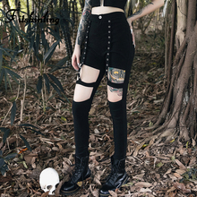 Fitshinling Punk Locomotive Gothic Pencil Pants Women High Waist Goth Dark Grunge Female Trousers Slim Cut Out Joggers Grommet