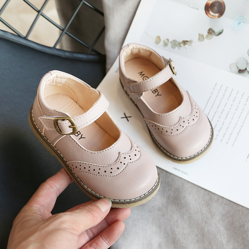 2020 New Children's Quality Leather Casual Shoes Fashion Flat Retro Style Shoes Peas Shoes Student  Comfortable Leather Shoes