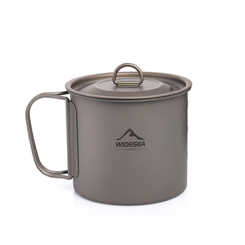 Widesea Camping Mug Titanium Cup Tourist Tableware Picnic Utensils Outdoor Kitchen Equipment Travel Cooking set Cookware Hiking 3
