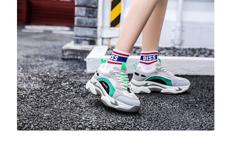 Homme Mixte Couleur Baskets Lacets Décontractées épais Semelle Chaussures Running Korean Fashion