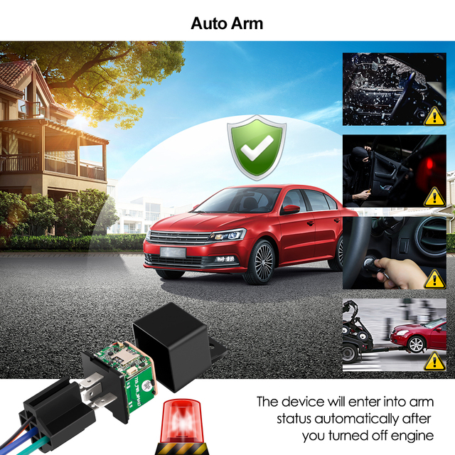 Vehicle Tracker Car MV730 Hidden Design Cut Off Fuel Shock Tow Alert GPS Moto ACC Detection Relay Mini GPS Tracker Car Tracker 5