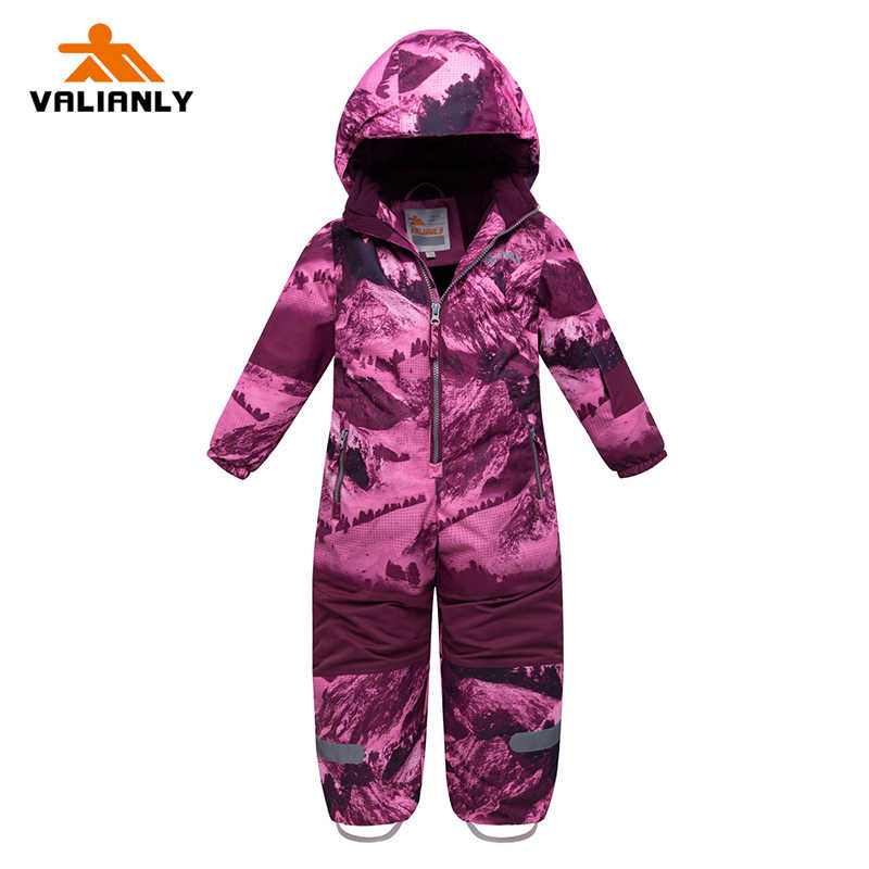 2019 New Winter Girls Snowsuit Kids Ski Suit One-piece Children Jumpsuit Waterproof Windproof Snowboarding Sets Ski Sets Outdoor