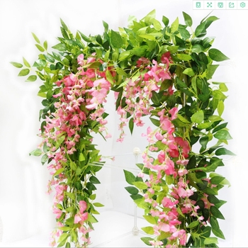 2 meters Hydrangea leaf vine wedding decorative flower wall arrangement home bathroom decoration accessories Artificial flowers european hydrangea oil painting style vases for home decoration accessories wedding decorative flowers artificial flowers cheap