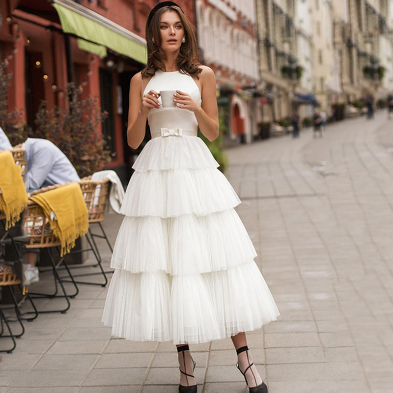 Eightree Princess Evening Dresses Boho Formal Dress Robe De Soiree A Line Tiered Evening Party Dress Tulle Prom Gown Illusion