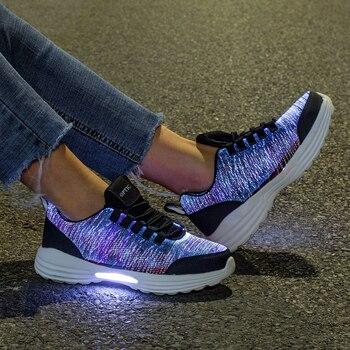 New LED Shoes Fiber Optic Shoes for girls boys men women USB Charging light up shoe for Adult Glowing Running Sneaker kids led shoes men lights up sneakers women usb charging colorful led light up luminous fiber optic shoes for boys girls