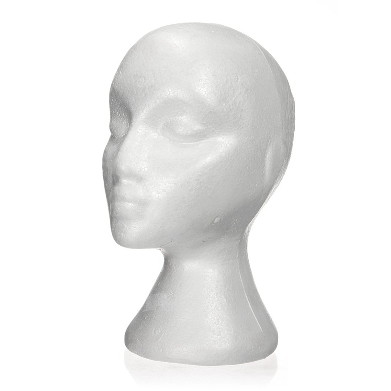 27.5 x 52cm Dummy / mannequin head Female Foam(Polystyrene) Exhibitor for cap, headphones, hair accessories and wigs Woman Ma