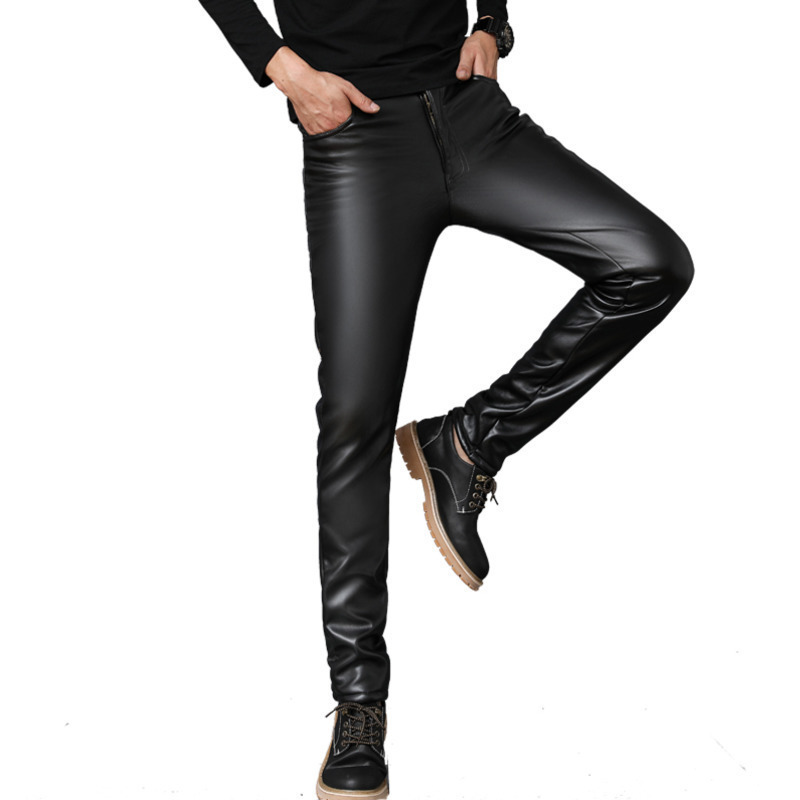 Winter Faux Leather Pencil Pants Men Skinny Windbreak Motorcycle High Elastic Trousers Tight Leather Fleece Trousers X9186