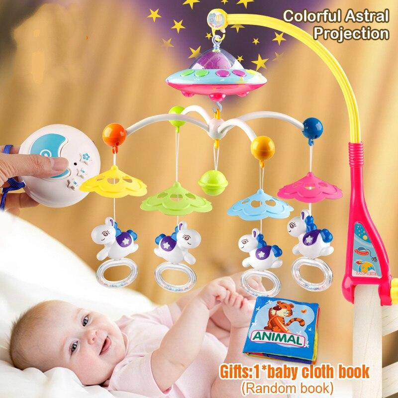 Bébé jouets 0-12 mois berceau Mobile Musical lit cloche avec Animal hochets Projection dessin animé début d'apprentissage enfants jouet